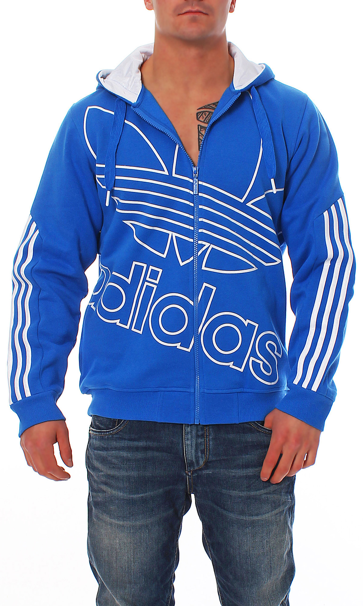 adidas ost fz originals hoody trefoil jacket men blue new f47613. Black Bedroom Furniture Sets. Home Design Ideas