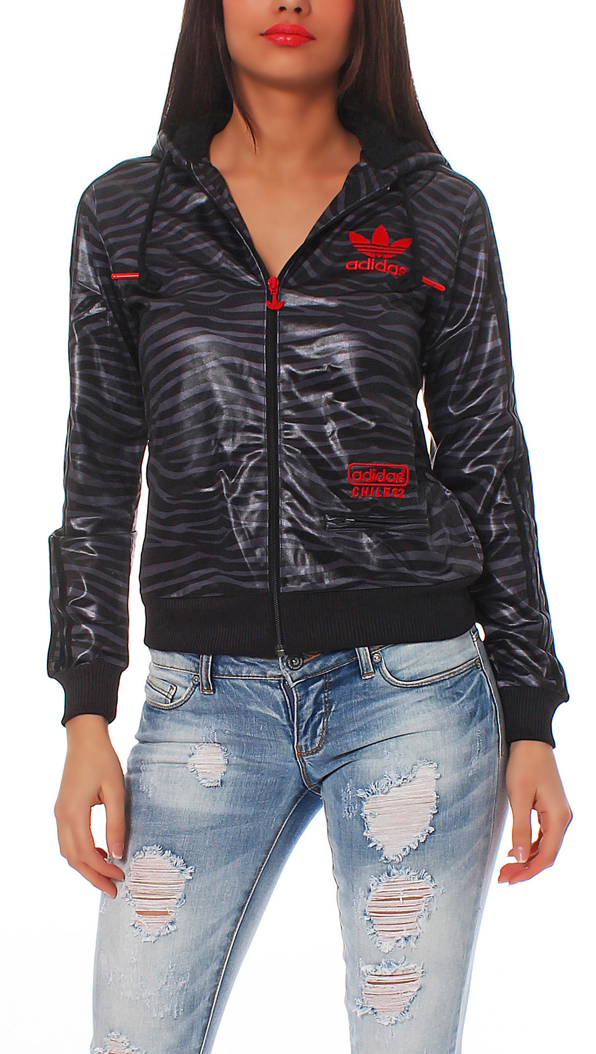 adidas chile 62 zebra fz hood trainingsjacke damen schwarz. Black Bedroom Furniture Sets. Home Design Ideas